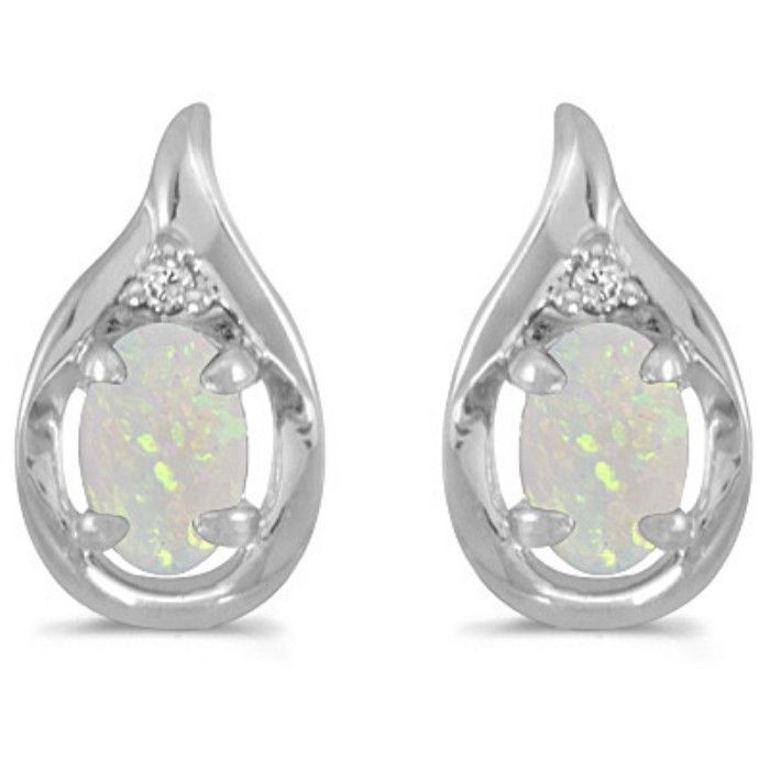 1/2ct Oval Opal And Diamond Earrings 14k White Gold