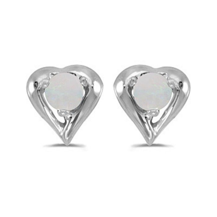 1/8ct Round Opal Heart Earrings in 14k White Gold