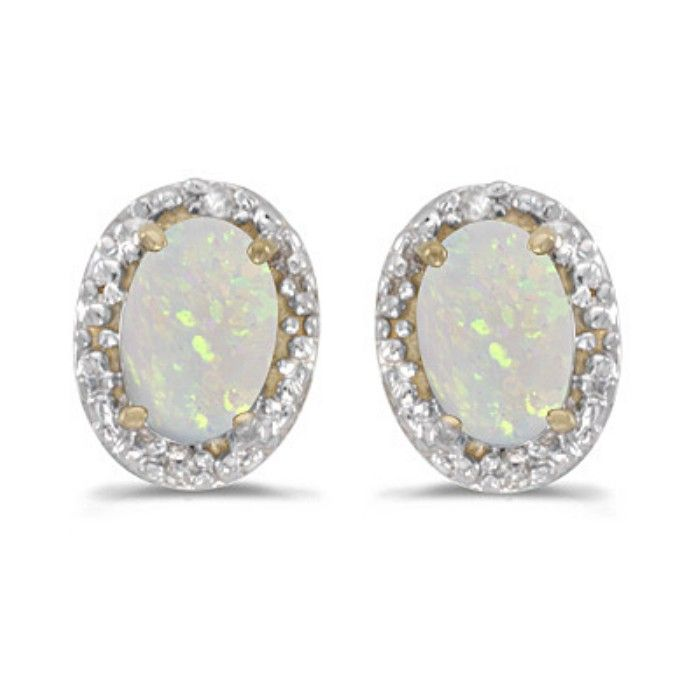 1/2ct Oval Opal And .01ct Diamond Earrings in 14k Yellow Gold