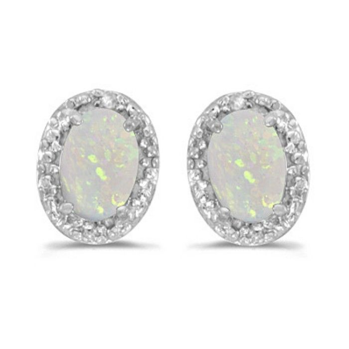 1/2ct Oval Opal And Diamond Earrings in 14k White Gold