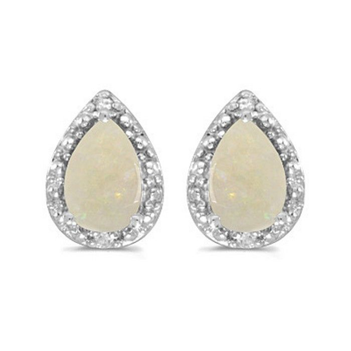 2/3ct Pear Opal And Diamond Earrings in 14k White Gold