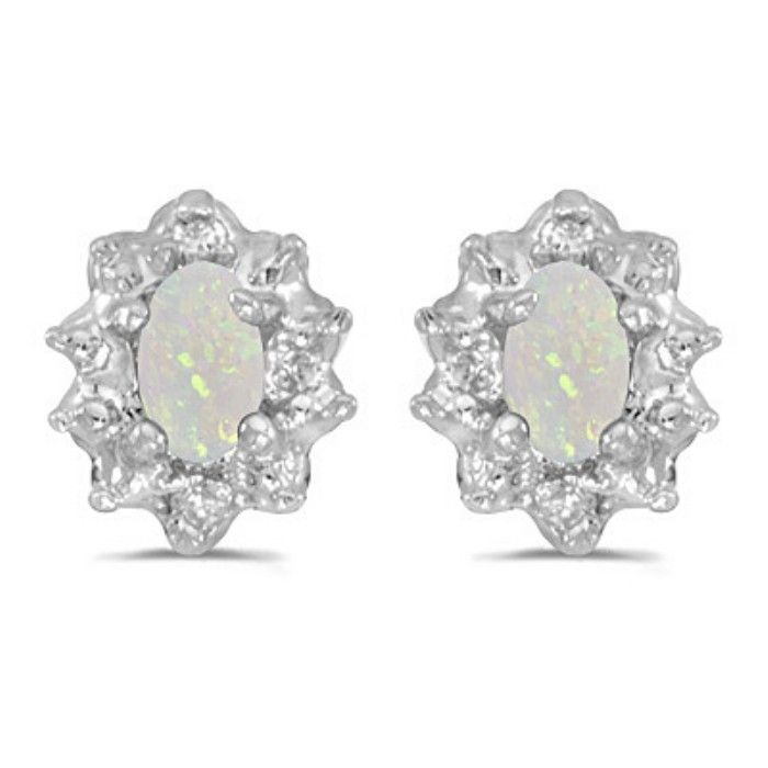 1ct Oval Opal And Diamond Earrings in 14k White Gold