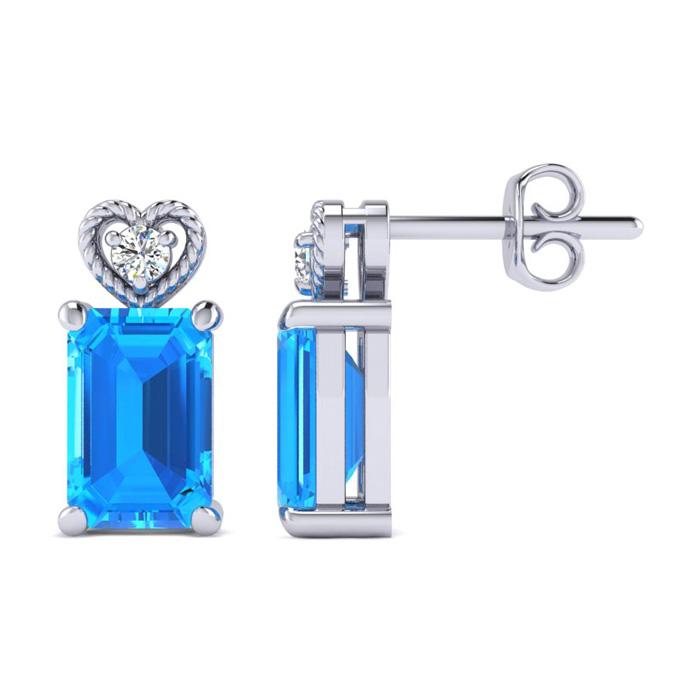 1ct Blue Topaz and Diamond Earrings in 10k White Gold