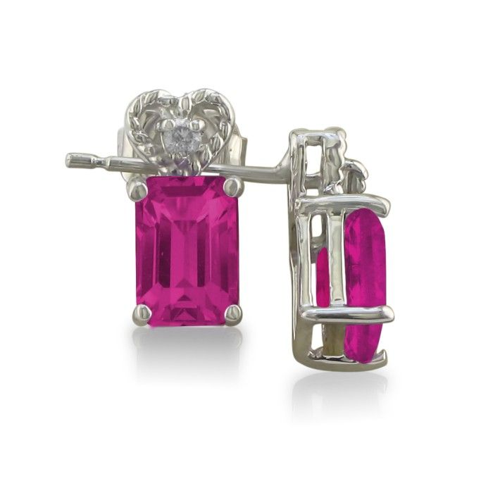 1ct Pink Topaz and Diamond Earrings in 10k White Gold