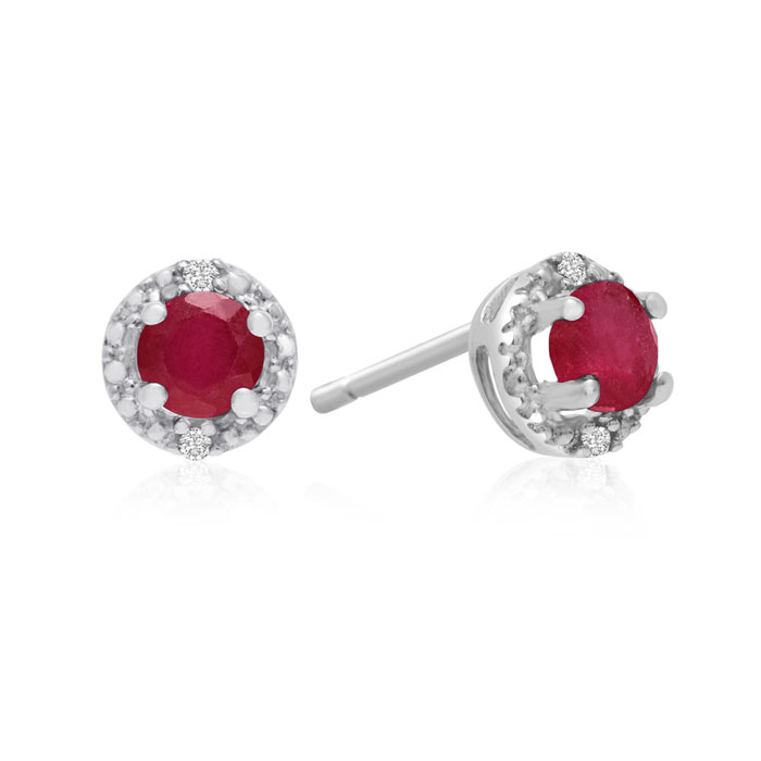 1/2ct Ruby Diamond Earrings, 10k White Gold
