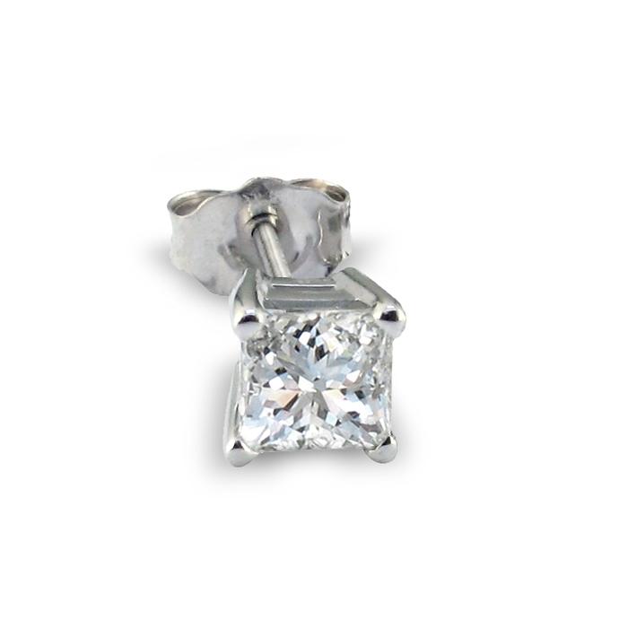 1/2ct Princess Cut Single Diamond Stud Earring in 14k White Gold