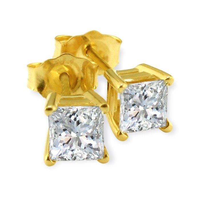 1 1/2ct Princess Cut Diamond Stud Earrings 14k Yellow Gold, G/H, SI