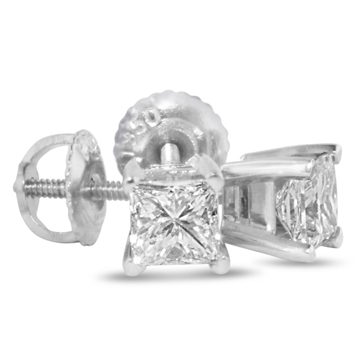 1 3/4ct Princess Diamond Stud Earrings In 14k White Gold, G/H, SI