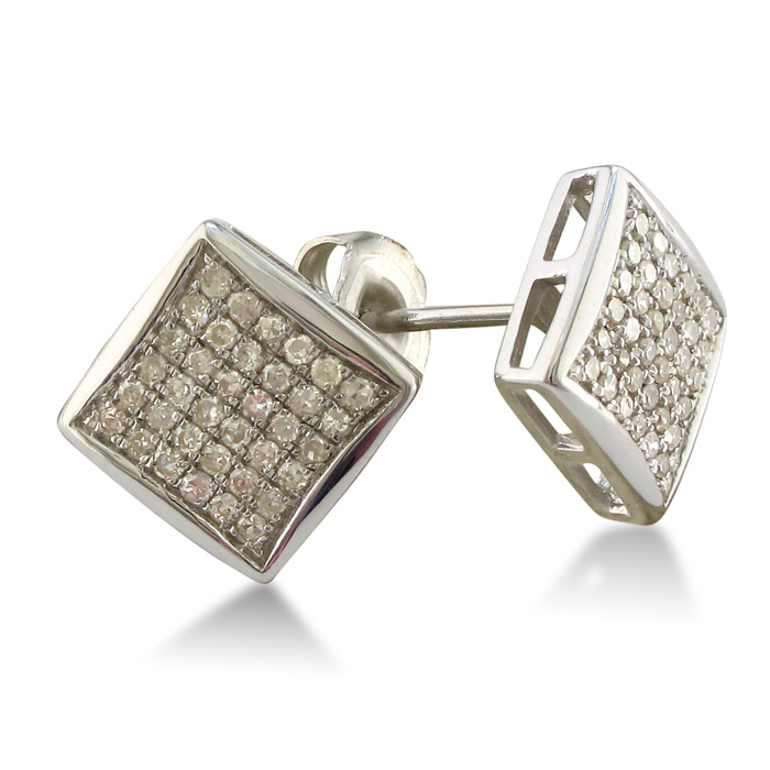 1/3ct Square Diamond Earrings in Sterling Silver