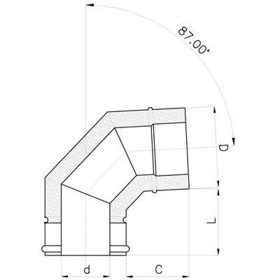Komínové koleno 90°, DN 130 mm, izolace 30 mm,