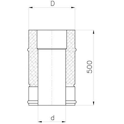 Komínová izolovaná roura DN 130 mm, délka 0,5 m, izolace 30 mm
