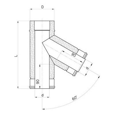 Nerezový izolovaný t-kus 60°, izolace 30