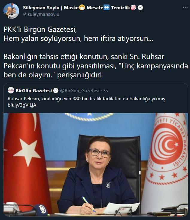 bakan soylu pkkli birgun gazetesi hem yalan soyluyorsun hem iftira atiyorsun 0 - Bakan Soylu: PKK'lı Birgün Gazetesi, hem yalan söylüyorsun, hem iftira atıyorsun