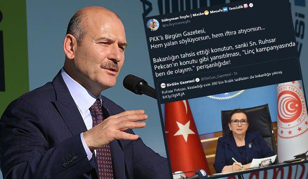 Bakan Soylu: PKK'lı Birgün Gazetesi, hem yalan söylüyorsun, hem iftira atıyorsun