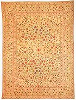 Dastar Khwan, a floor spread. India, 1700. Click for larger image.