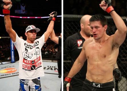 J. Shields (esq.) e D. Maia (dir.) entram no octógono até o fim deste ano. Foto: Produção MMA Press (UFC/Divulgação)