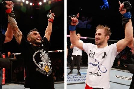 J. Lineker (esq.) e A. Bagautinov (dir.) sem enfrentam em fevereiro. Foto: Produção MMA Press (Josh Hedges/UFC)