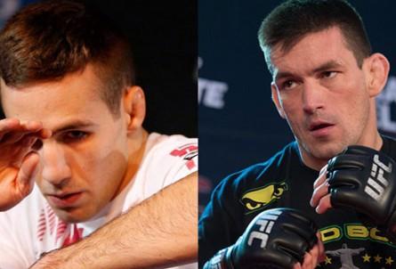 R. MacDonald (esq.) encara D. Maia (dir.) no UFC 170. Foto: Montagem SUPER LUTAS