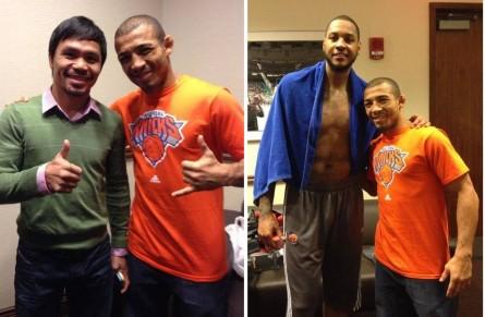 Aldo com Pacquiao (esq.) e Carmelo Anthony (dir.) após jogo dos Knicks. Foto: Reprodução/Facebook