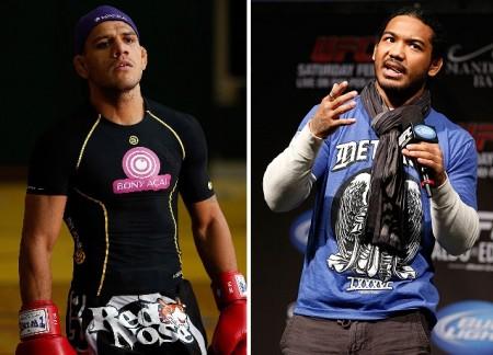 R. dos Anjos (esq.) tem pela frente B. Henderson (dir.) em agosto. Foto: Produção SUPER LUTAS (UFC/Divulgação)