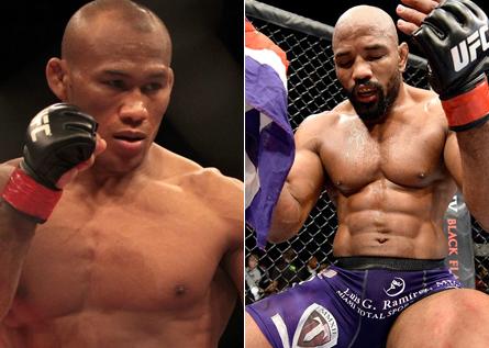 Jacaré (esq.) e Romero (dir.) se enfrentam em Los Angeles. Foto: Produção MMA Press (Divulgação/UFC)