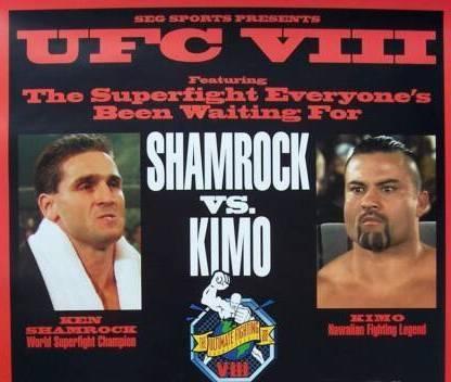 Pôster do polêmico UFC 8, com destaque para Shamrock e Leopoldo. Foto: Reprodução