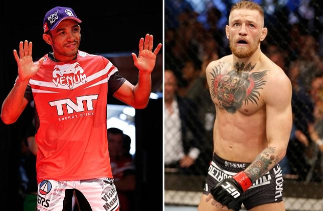 Aldo (esq.) e McGregor (dir.) se enfrentarão caso o irlandês vença sua próxima luta. Foto: Produção SUPER LUTAS (Josh Hedges/UFC)