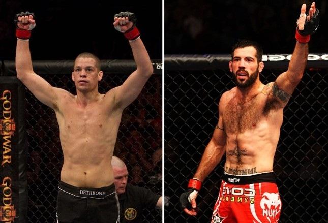 N. Diaz (esq.) enfrenta M. Brown (dir.) em sua reestreia nos meio-médios. Foto: Produção SUPER LUTAS (Josh Hedges/UFC)