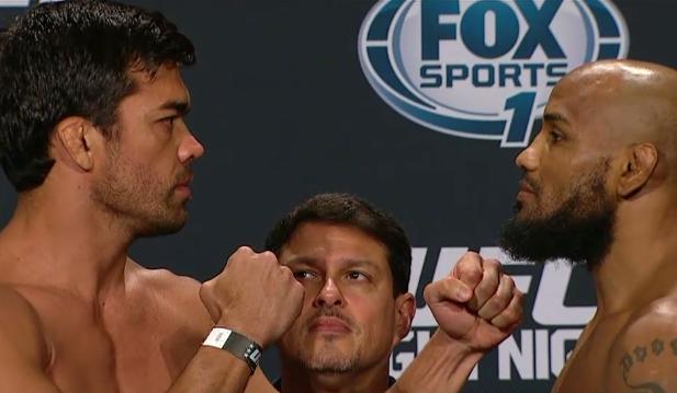 Machida (esq.) e Romero (dir.) bateram o peso para a luta. Foto: Reprodução
