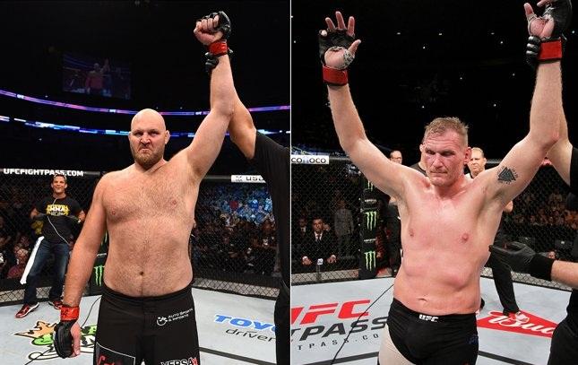 Rothwell (esq.) e Barnett (dir.) duelam no fim de janeiro. Foto: Produção SUPER LUTAS (Josh Hedges/UFC)