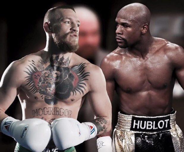 McGregor (esq) e Mayweather (dir) duelam em agosto (Foto: Reprodução/Facebook TheNotoriousMMA)