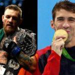 Phelps (dir) desafiou Conor (esq) (Fotos: Reprodução Facebook Conor McGregor Michael Phelps)
