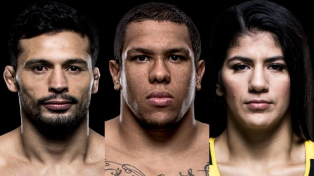 Adriano, KLB e Ketlen estão no card preliminar (Foto: Divulgação/UFC/Montagem: SL)