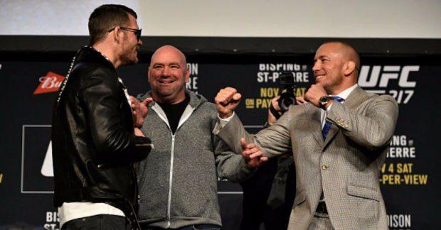M. Bisping (esq) e GSP (dir) fazem luta principal (Foto: Reprodução Twitter UFC)