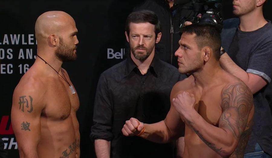 Lawler (esq.) e dos Anjos (dir.) fazem luta principal do UFC Winnipeg. Foto: Reprodução / YouTube UFC