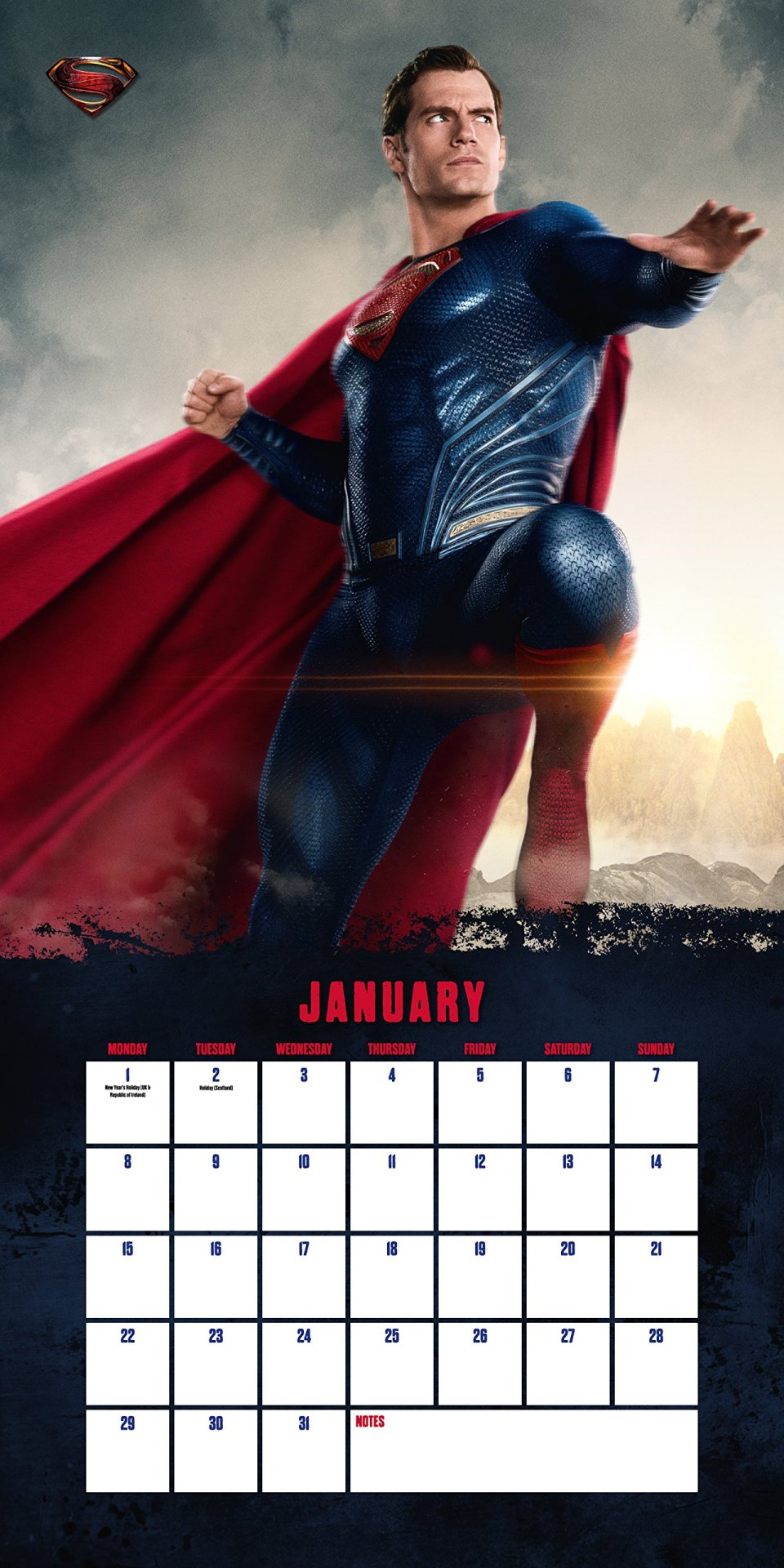 "New Superman Image in ""Justice League"" 2018 Wall Calendar"