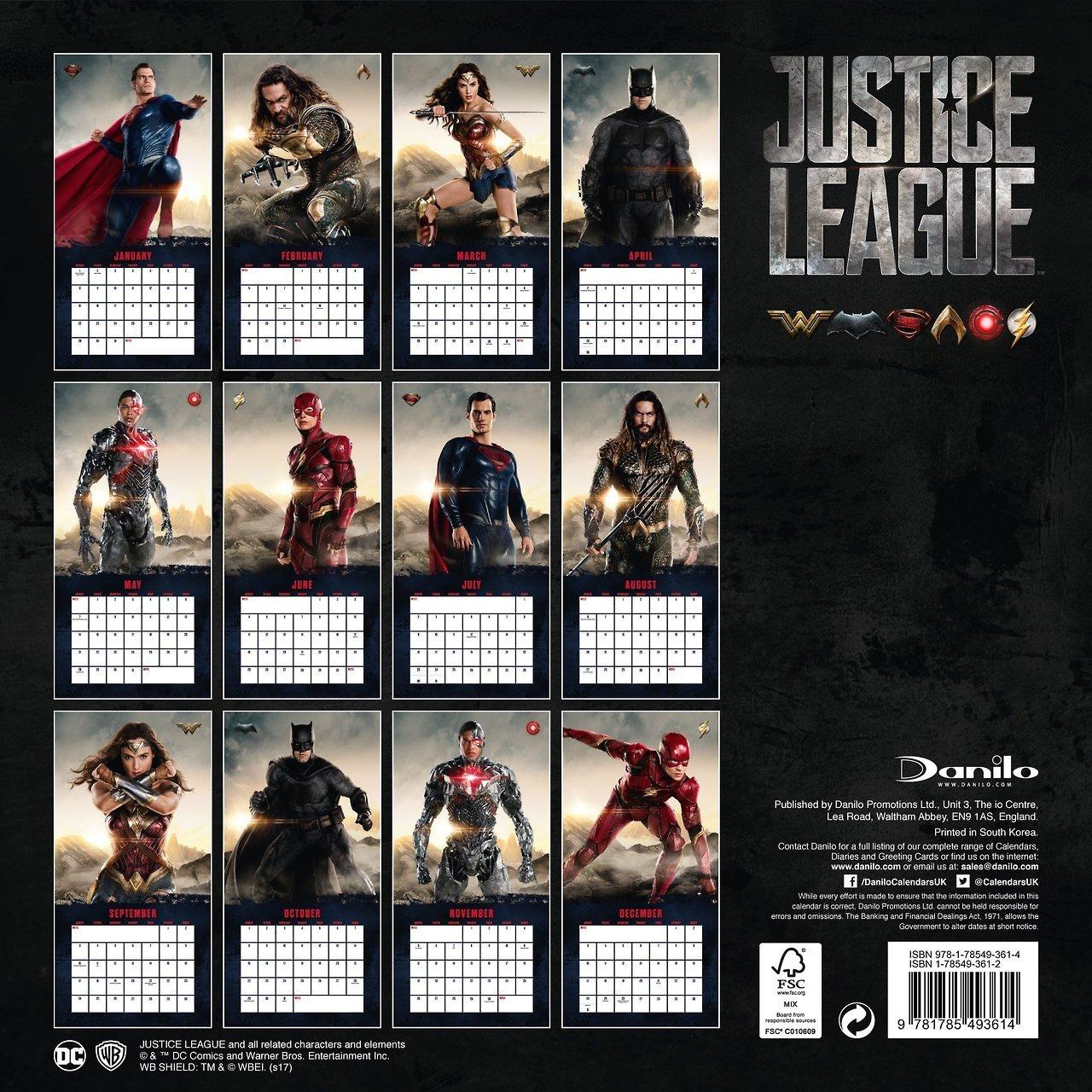 Justice League 2017 Calendar