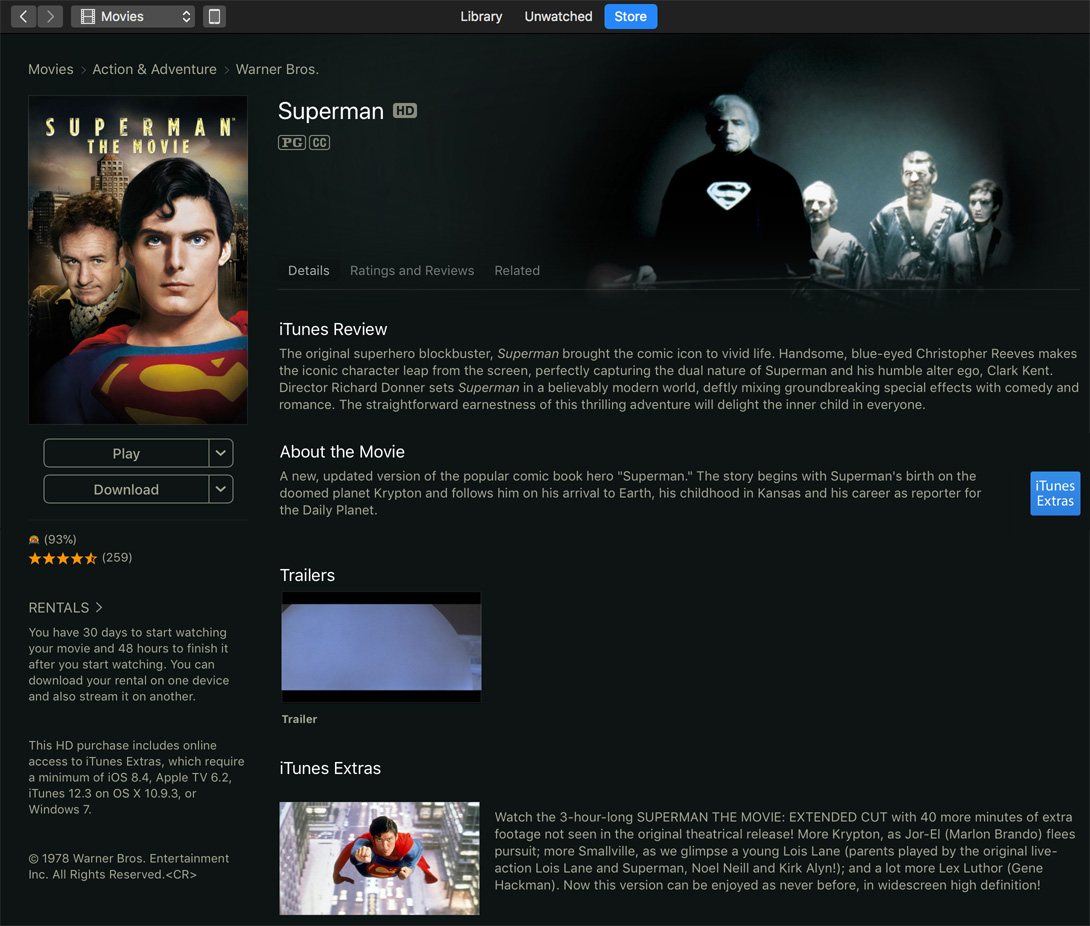"Superman: The Movie"" Extended Cut Available on iTunes… With"