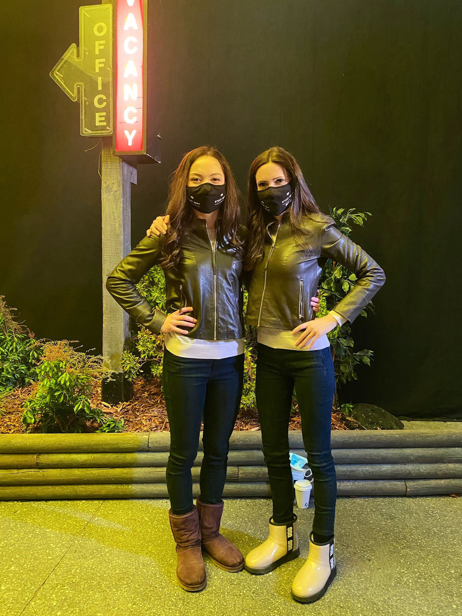 Bitsie Tulloch Poses with Lois Lane Stunt Double