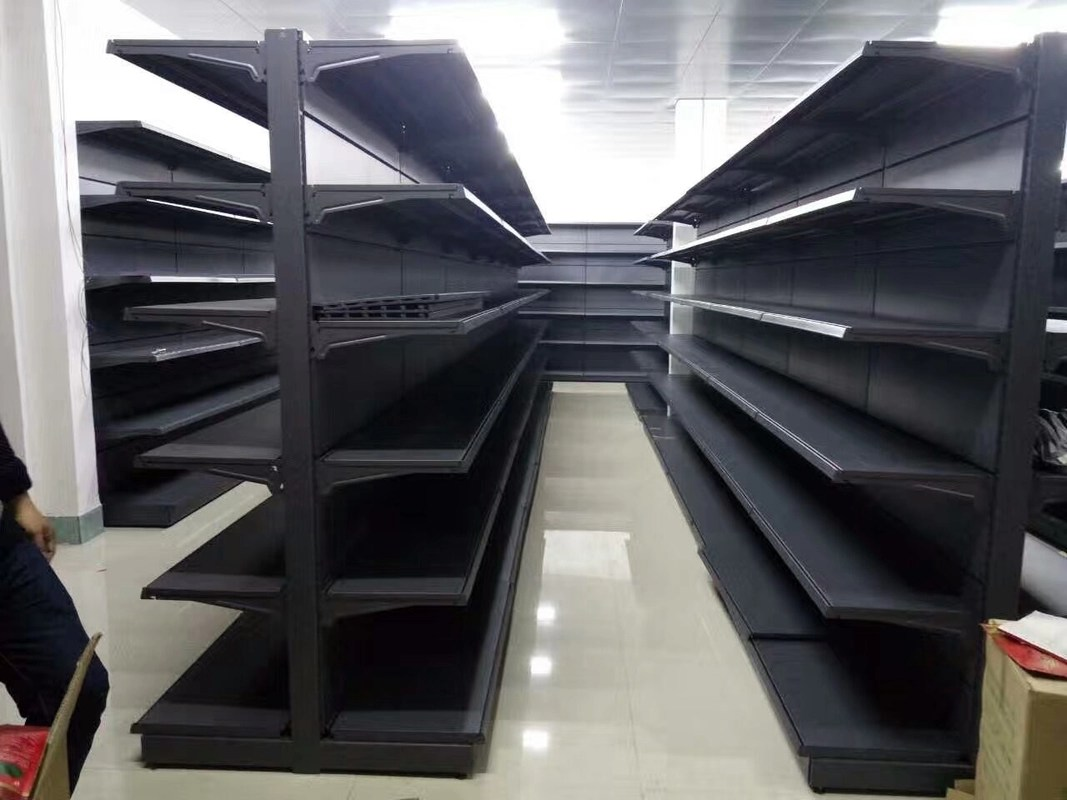 Gondola Steel Customized Supermarket Racking Gray Shelves