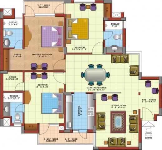 3bedroom Floor Plan In Nigeria House Plans Apartment 3 Bedroom Flat Design  Plan In Nigeria.