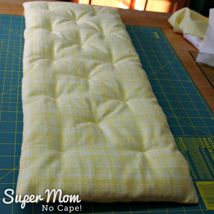 How to Make Bedding for a Doll Cradle - Top of Finished Cradle Mattress