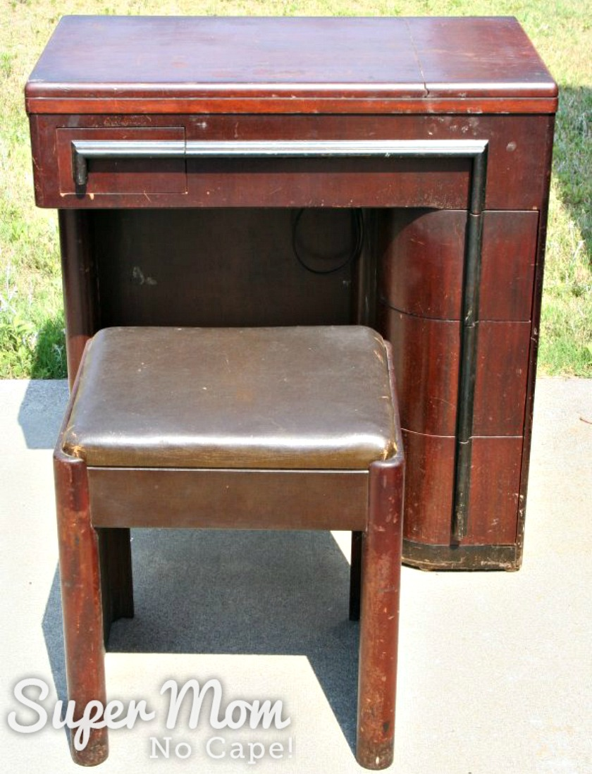 Photo of the Art Deco sewing machine cabinet before refinishing