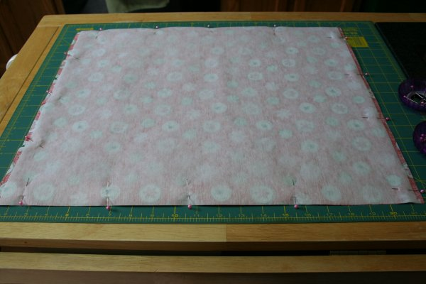 Pin interfacing onto fabric
