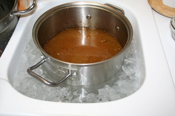 Cool pot of broth in ice water