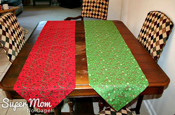The 2 One Hour Table Runners are almost as pretty with the backs facing up.