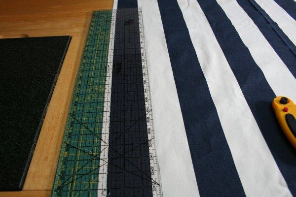 Cut half an inch from left side of stripe