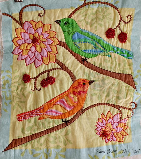 2 Green and Orange Bird Panel