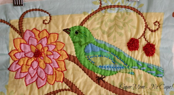 4 Closeup embellished green bird