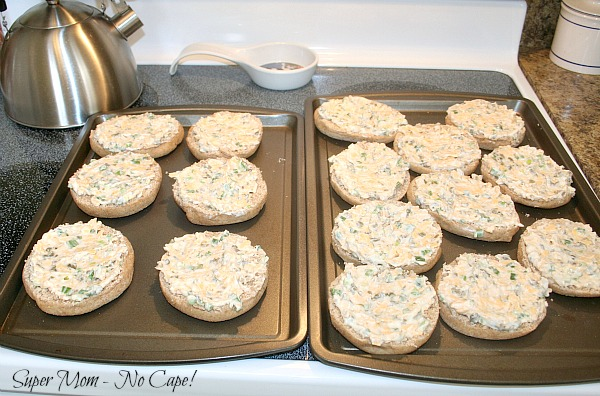 Caper Snacks - spread mixture on the English muffins